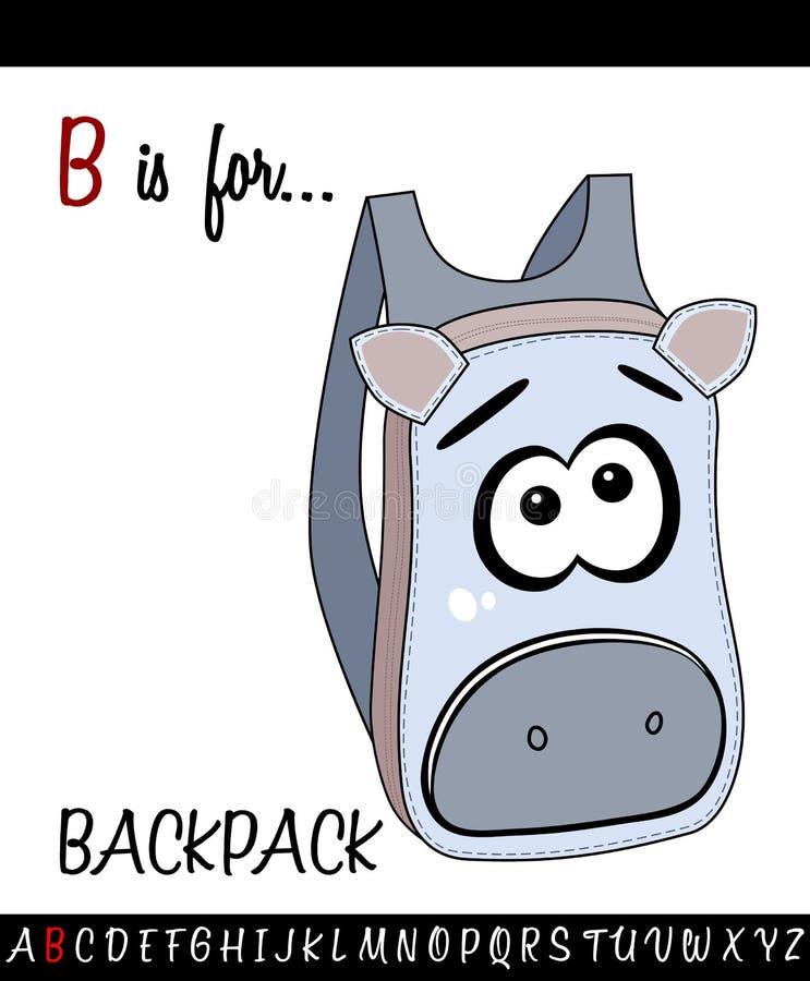 与动画片背包的被说明的词汇量活页练习题卡片儿童教育的 向量例证