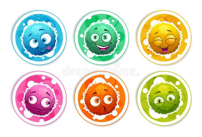 与动画片蓬松妖怪的滑稽的明亮的圆的贴纸 库存例证