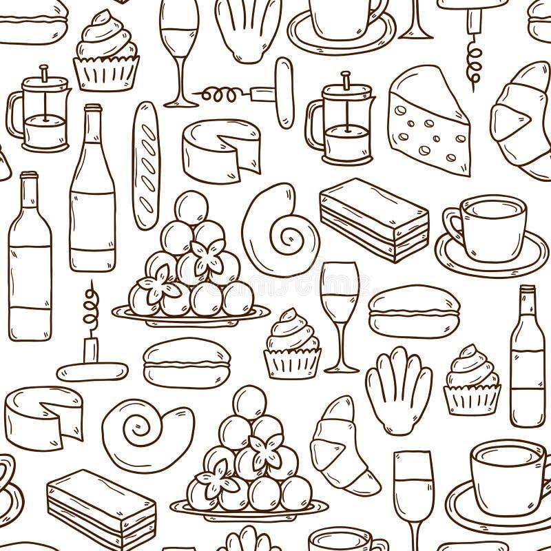 Download 与动画片逗人喜爱手拉的无缝的背景 向量例证. 插画 包括有 酒精, 欧洲, 背包, 餐馆, 新月形面包, 菜单 - 59106061