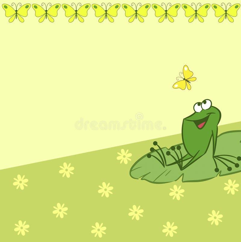 与动画片青蛙和蝴蝶的样式 向量例证