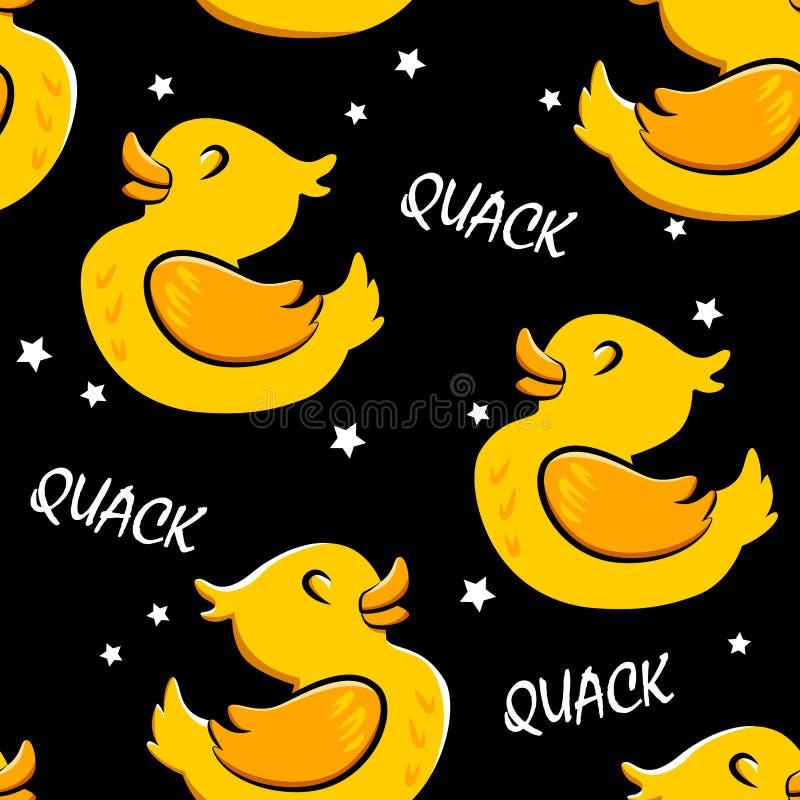 与动画片鸭子和星的无缝的样式 纺织品和包裹的装饰品 向量背景 皇族释放例证