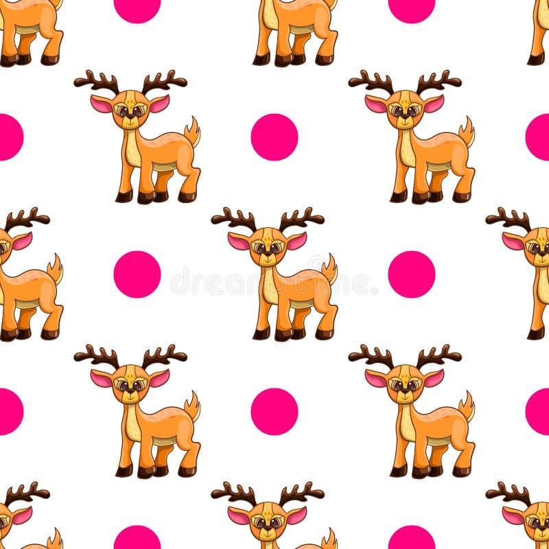 与动画片鹿的无缝的样式 库存例证