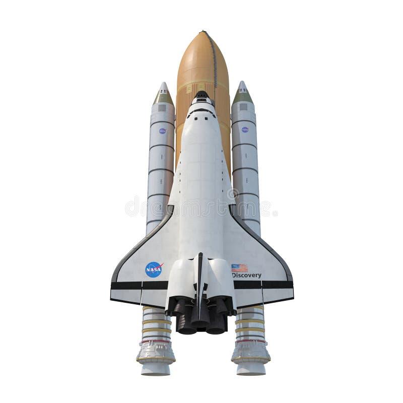 与助推器的发现号太空梭在白色 正面图 3d例证 皇族释放例证