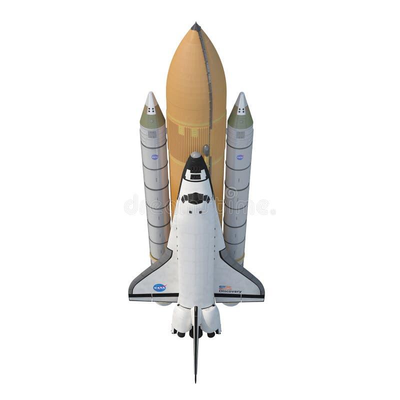 与助推器的发现号太空梭在白色 正面图 3d例证 向量例证