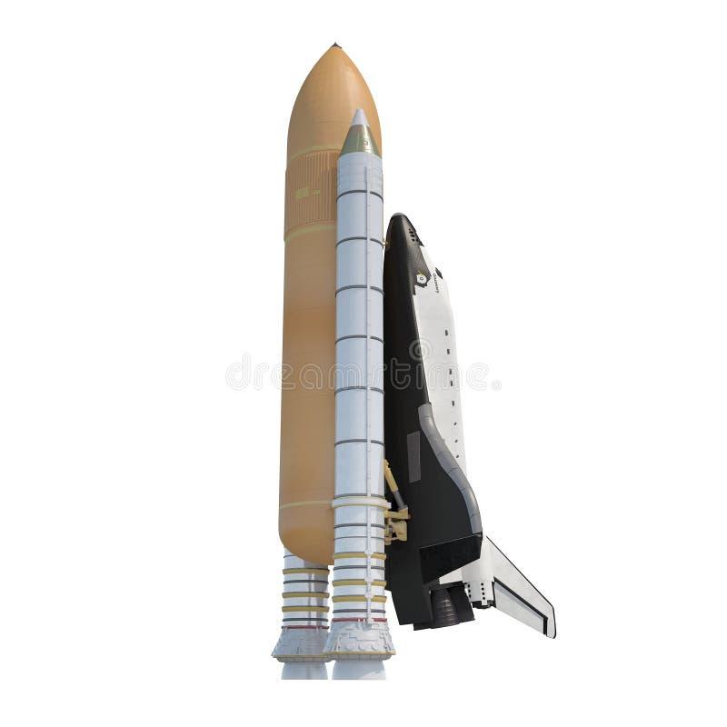 与助推器的发现号太空梭在白色 3d例证 向量例证