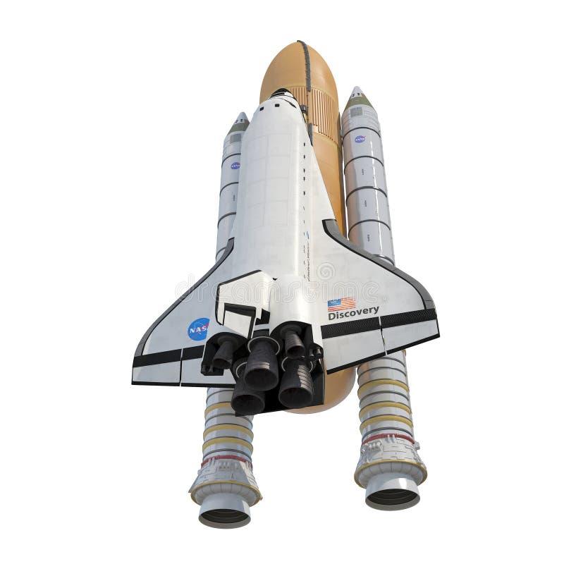 与助推器的发现号太空梭在白色 3d例证 皇族释放例证