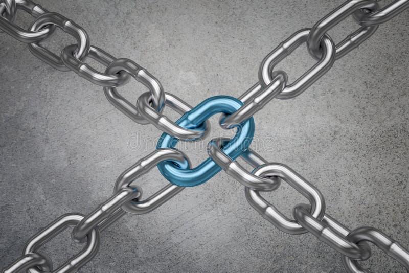 与勾子和镀铬物的链子连接-配合概念3D翻译 皇族释放例证