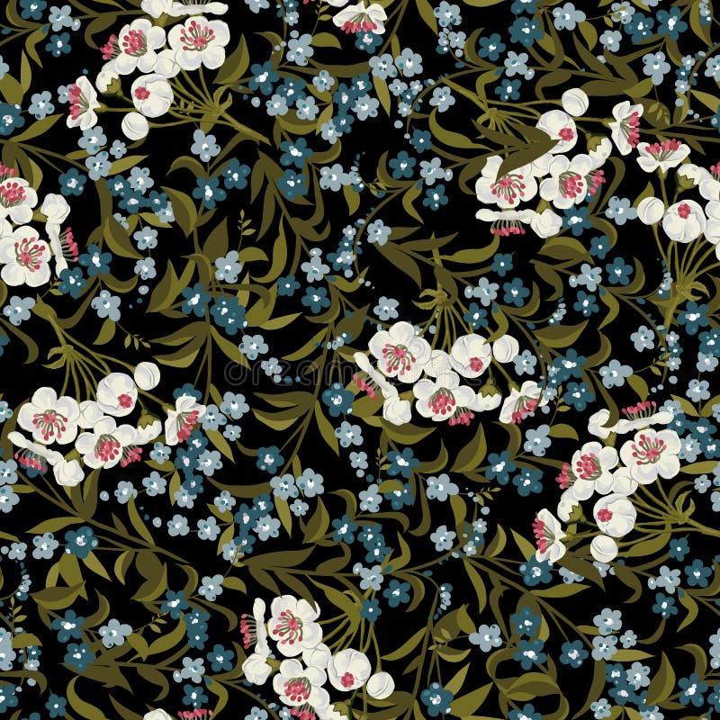 与勿忘草的抽象无缝的花卉样式 库存例证