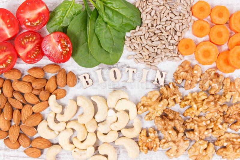 与包含维生素B7和饮食纤维,健康营养的滋补产品的题字生物素 库存照片