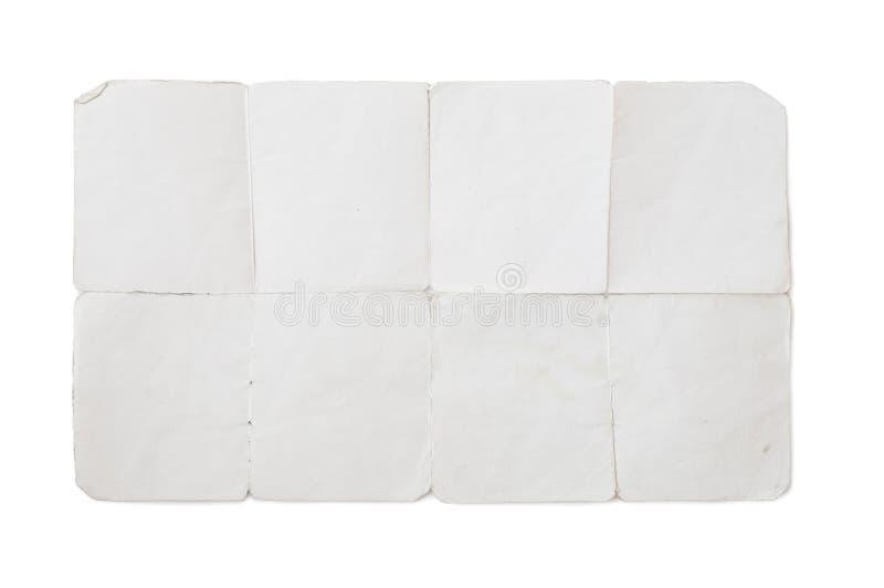 与包括的裁减路线的老被折叠的纸 免版税库存图片