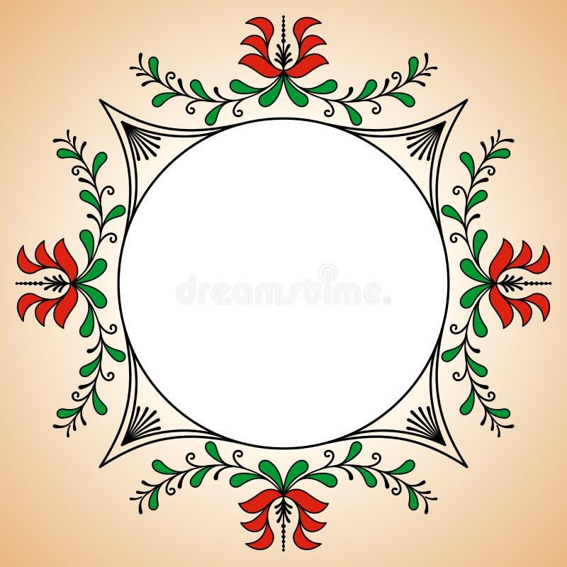 与匈牙利陶瓷工动机的圆的框架 免版税库存图片