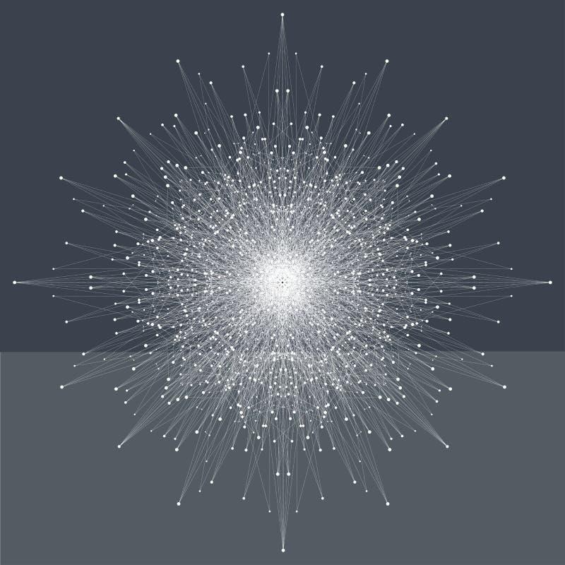 与化合物线和小点的分数维元素 大数据复合体 图表抽象背景通信 最小 皇族释放例证