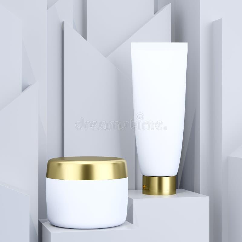 与化妆瓶大模型的现实广告的概念在成套设计的灰色抽象背景 r 向量例证