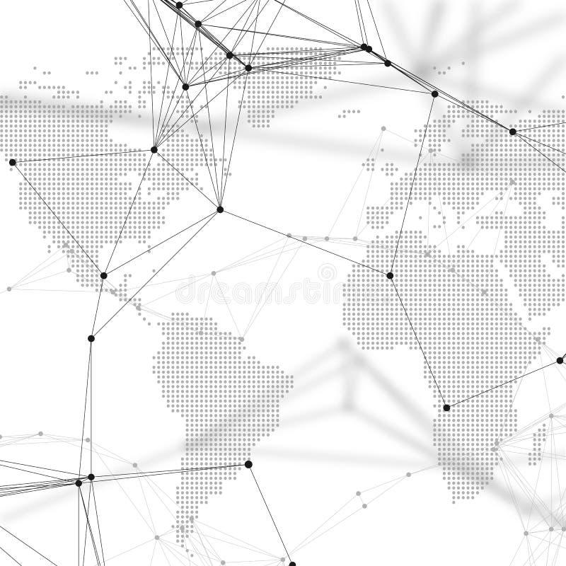 与化学样式、连接线和小点的被加点的世界地图 在白色的分子结构 科学医疗脱氧核糖核酸 皇族释放例证