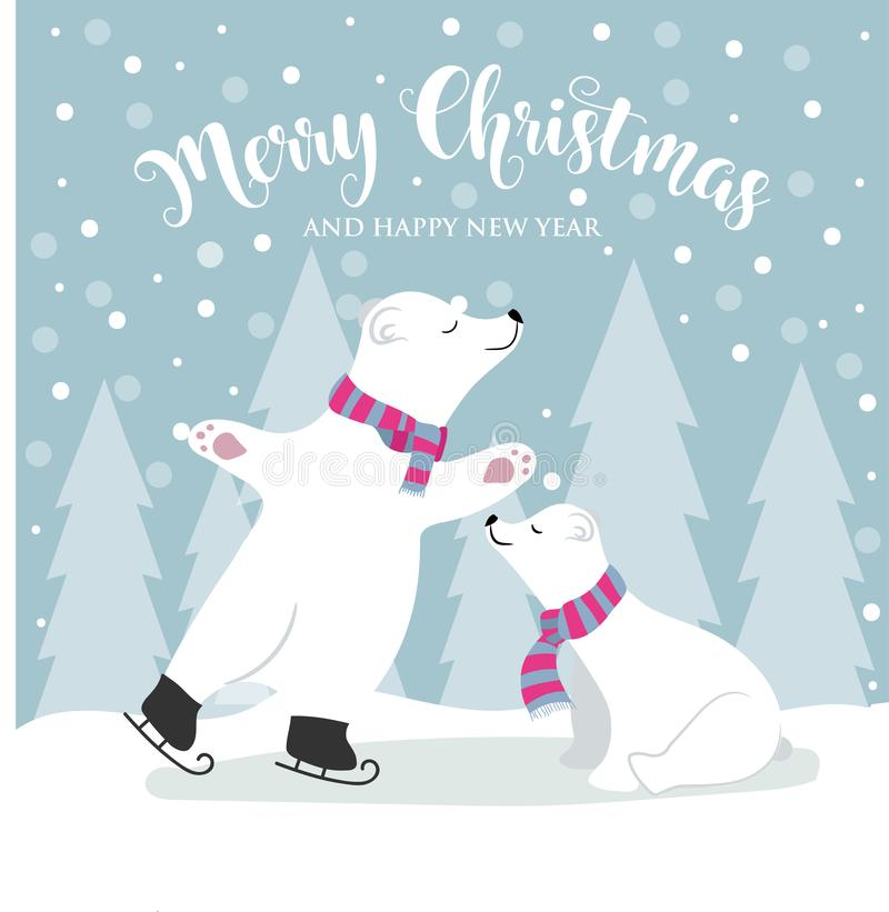 与北极熊和愿望的逗人喜爱的平的设计圣诞卡片 向量例证