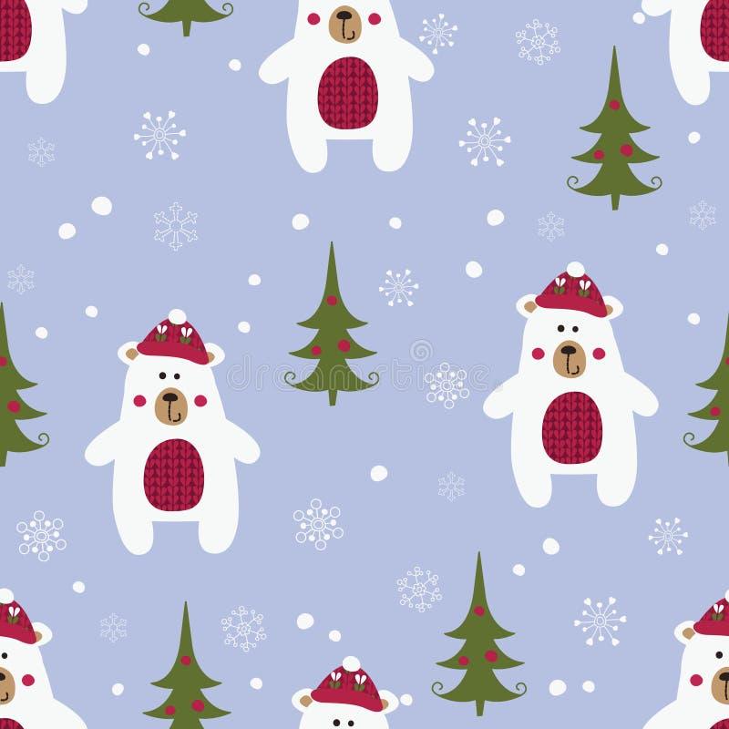 与北极熊的圣诞节无缝的样式 库存例证