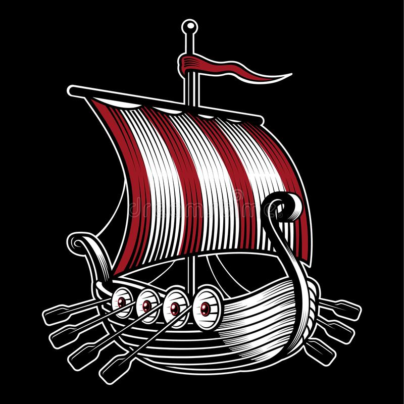 与北欧海盗船的传染媒介例证  向量例证