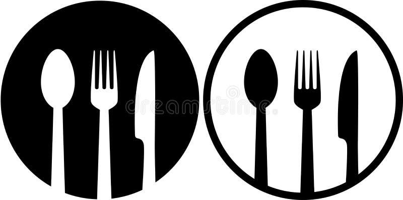 与匙子、叉子和刀子的标志 向量例证