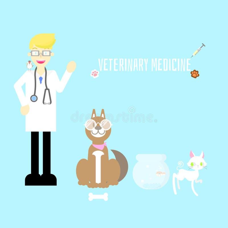 与医生、听诊器、狗、猫、鱼、鸟、爪子和针的兽医诊所医院逗人喜爱的宠物医疗保健 库存例证