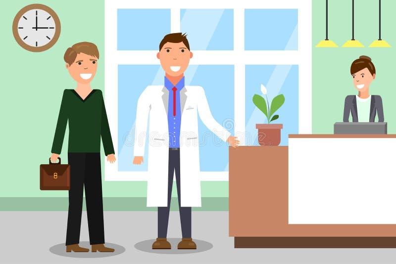 与医生和患者的医学概念医院大厅背景的 医生和患者医院的招待会的 免版税库存图片