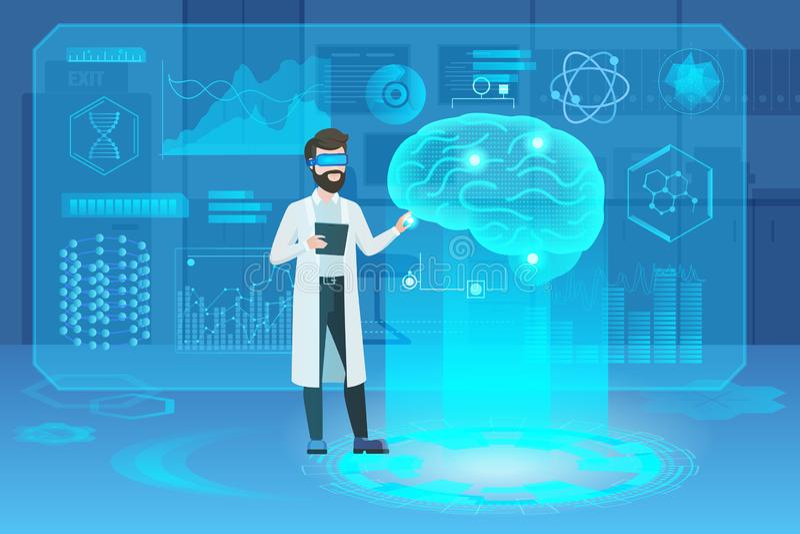 与医生科学家字符的人脑未来派医疗全息图 向量例证