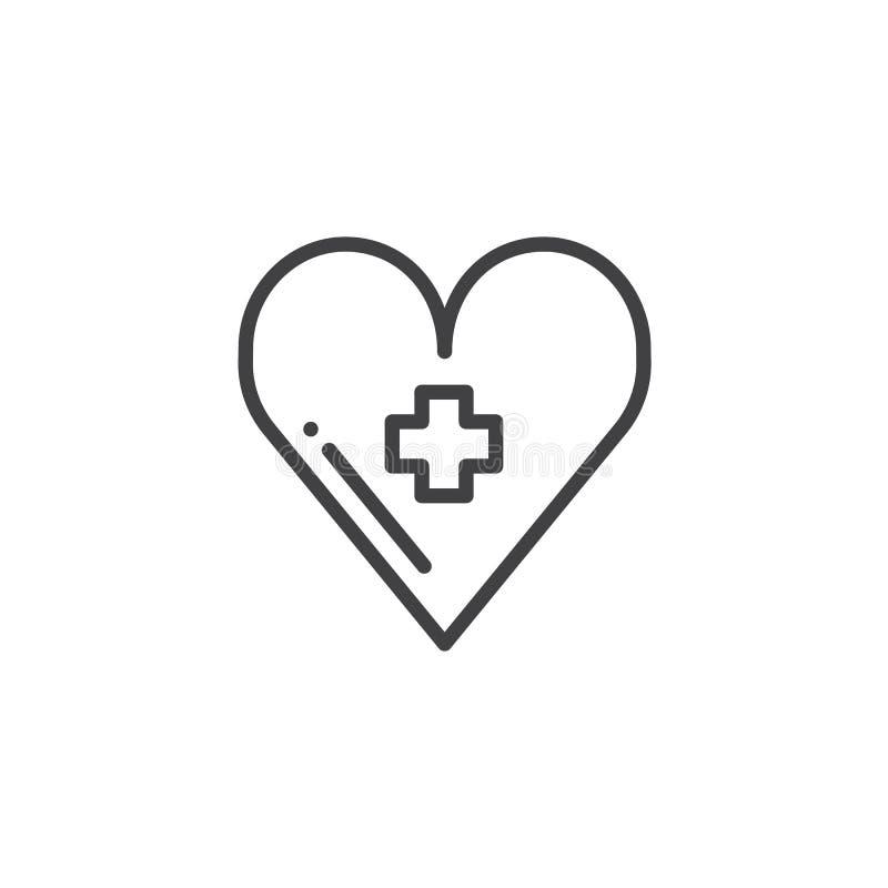 与医疗发怒线象的心脏 向量例证