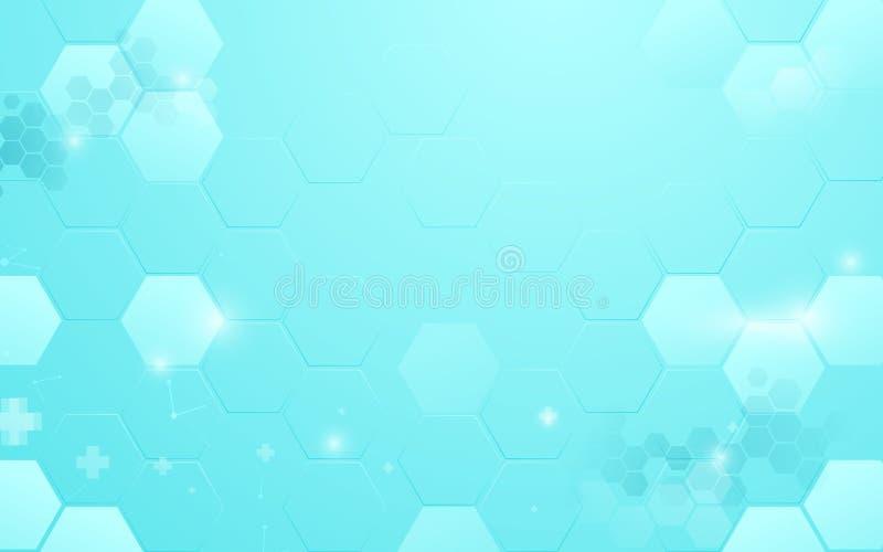 与医疗和科学概念的抽象蓝色六角形技术 库存例证