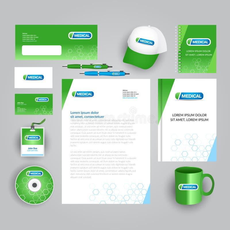 与医疗商标的绿色公司本体模板 医疗公司文具模板 传染媒介brandbook的公司样式 向量例证
