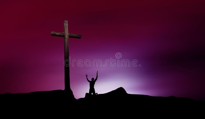 与十字架和崇拜者的剧烈的天空风景 免版税库存照片