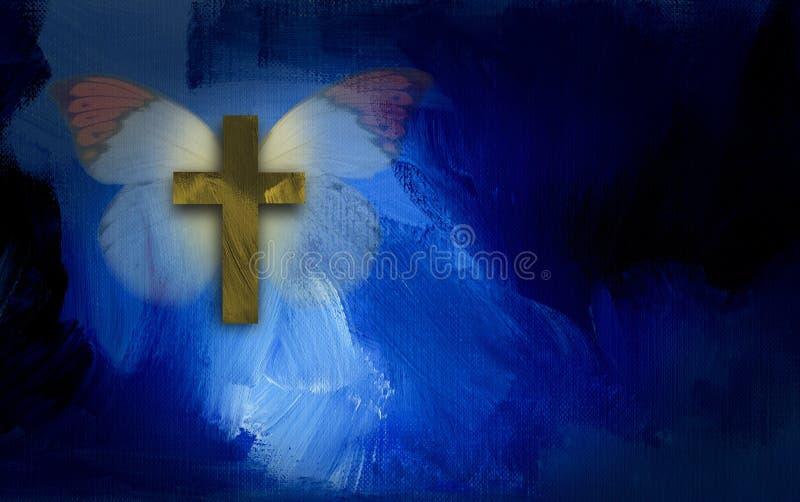 与十字架和蝴蝶翼的抽象图表 库存例证