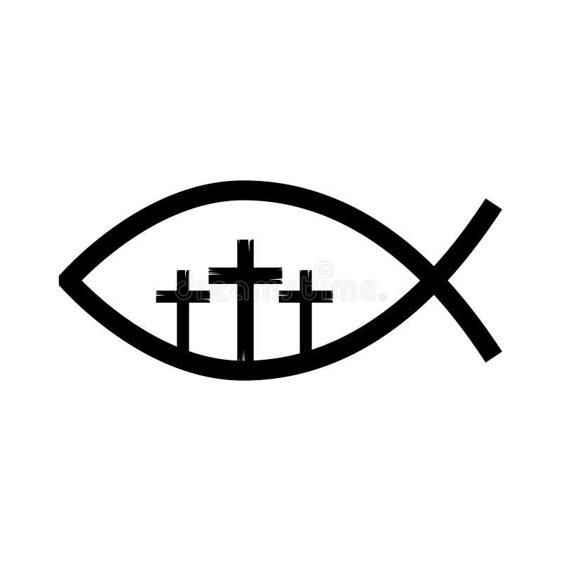 与十字架的鱼宗教标志 皇族释放例证
