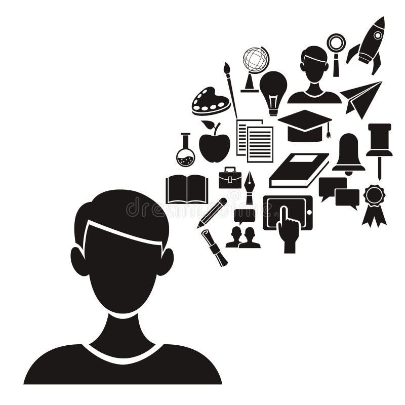 与半身体人民黑剪影的白色背景有浮动元素院知识的 向量例证