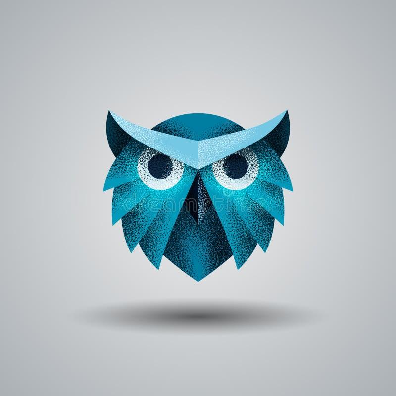 与半音纹理的蓝色猫头鹰 猫头鹰名片,烙记和公司本体的商标模板 向量例证