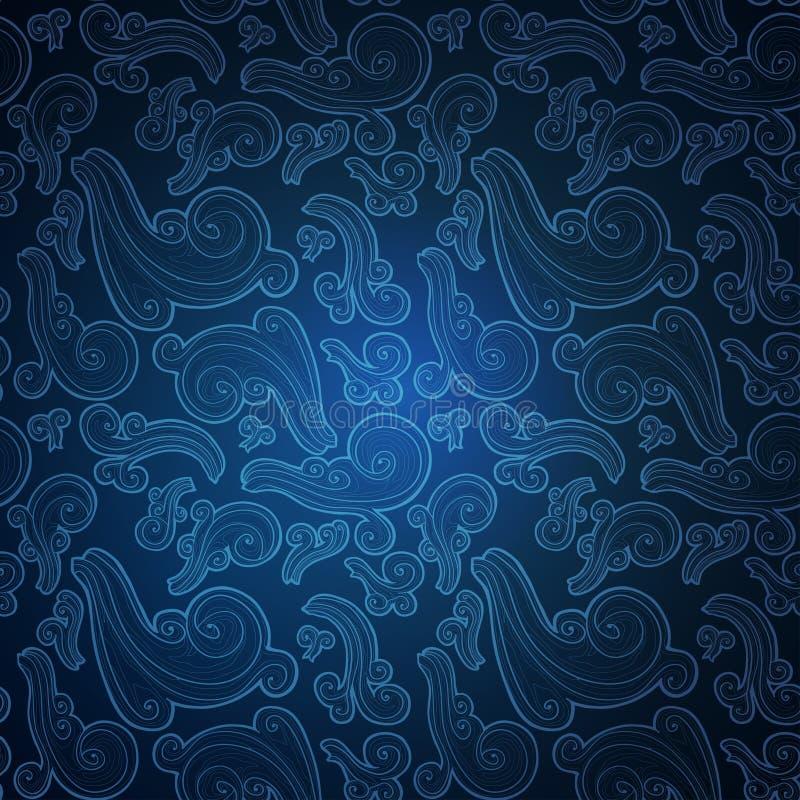 与华丽乱画元素的蓝色无缝的样式 皇族释放例证
