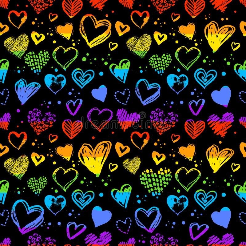 与华伦泰心脏的霓虹无缝的样式 皇族释放例证