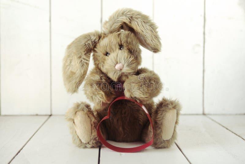 与华伦泰或周年爱题材的玩具熊兔宝宝 库存照片