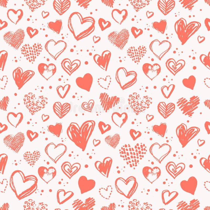 与华伦泰难看的东西心脏的无缝的样式 向量例证