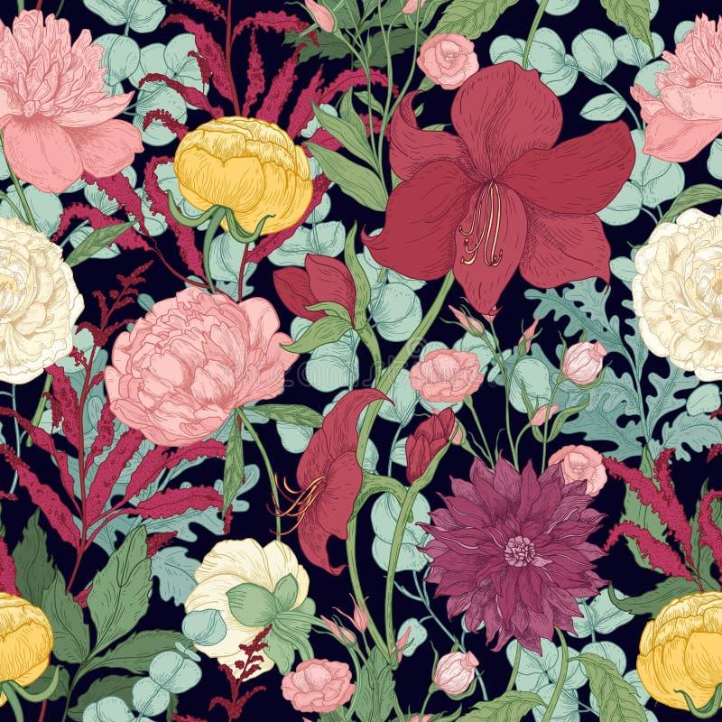 与华美的庭院的植物的无缝的样式和在黑背景的狂放的植物的花和开花的草本 向量例证