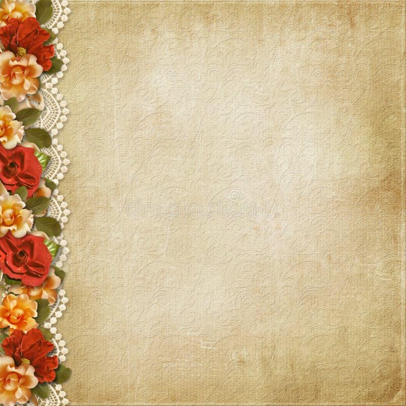 与华美的花和鞋带的葡萄酒背景 免版税图库摄影