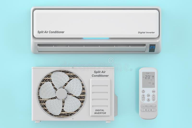 与单位的现代空调器系统和遥控 库存例证
