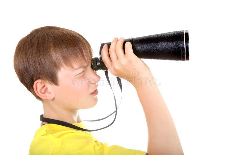 与单片眼镜的孩子 免版税库存照片