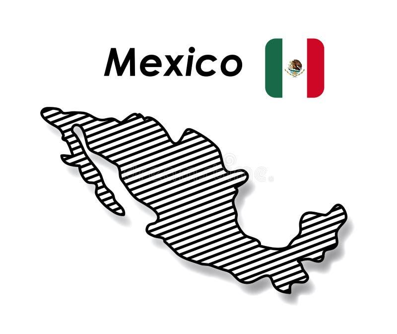 与单色地图镶边的和墨西哥国旗的墨西哥海报在五颜六色的剪影 皇族释放例证