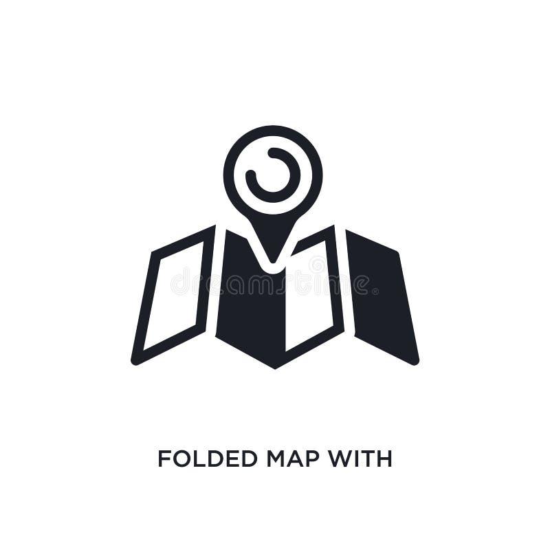 与占位符的被折叠的地图隔绝了象 从船舶概念象的简单的元素例证 与占位符的被折叠的地图 库存例证