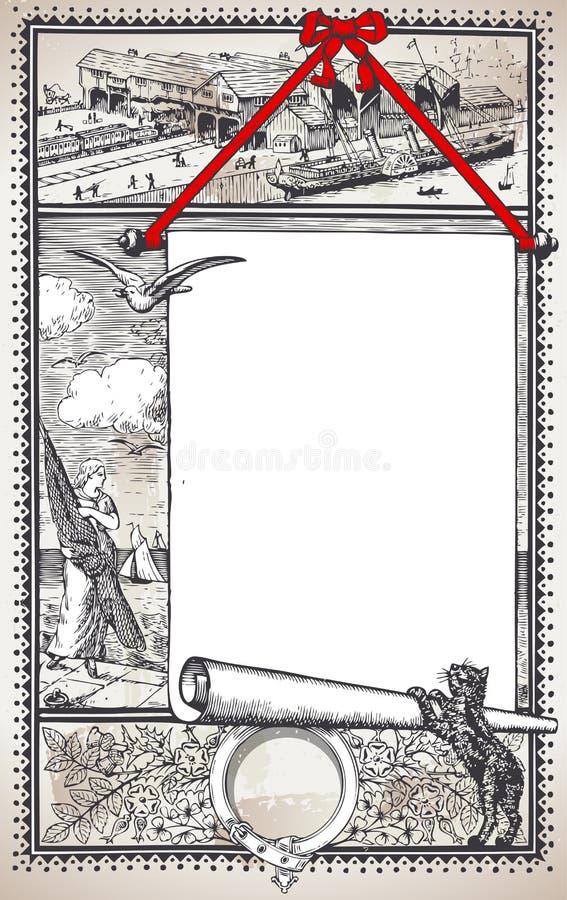 与占位符菜单的葡萄酒图表页餐馆的 皇族释放例证