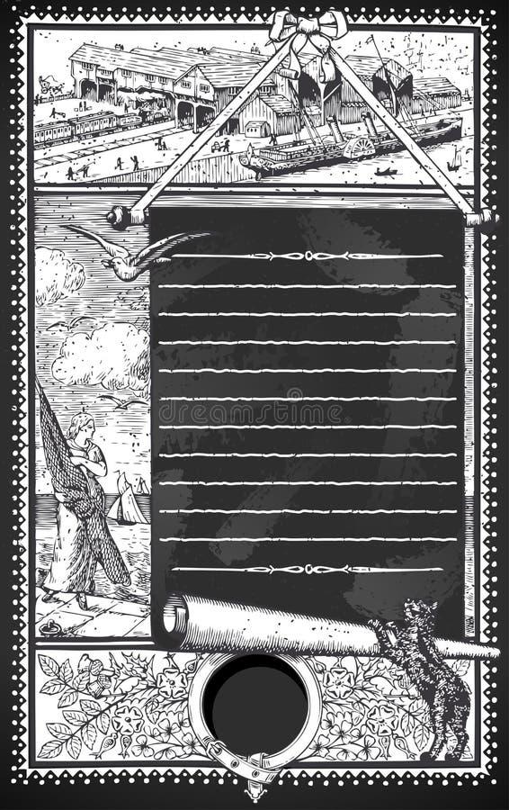 与占位符菜单的葡萄酒页在黑板 库存例证