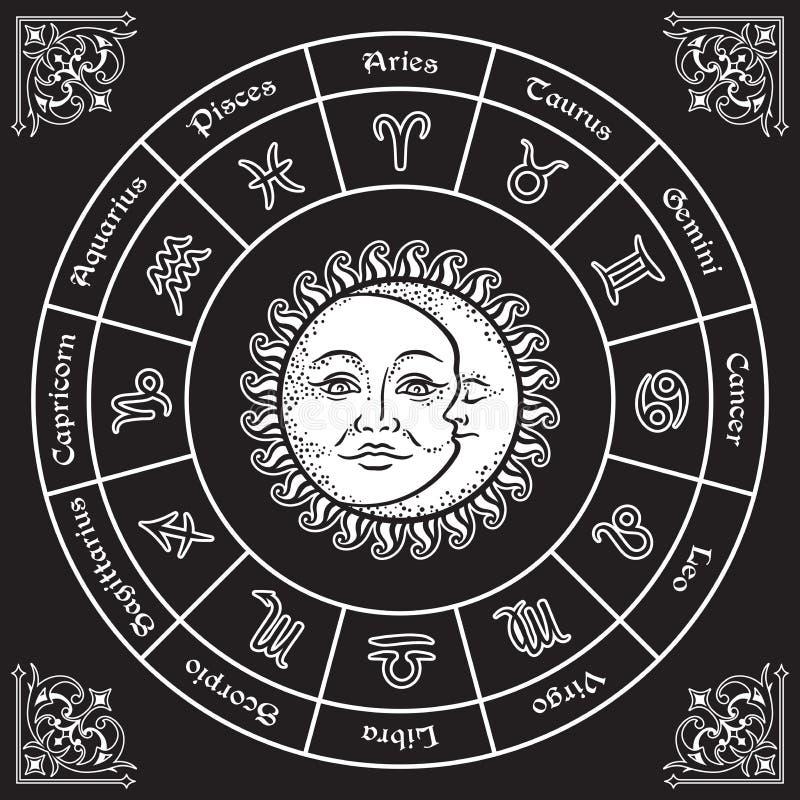 与占星标志、太阳和月亮手拉的葡萄酒样式传染媒介例证的黄道带圈子设计 向量例证