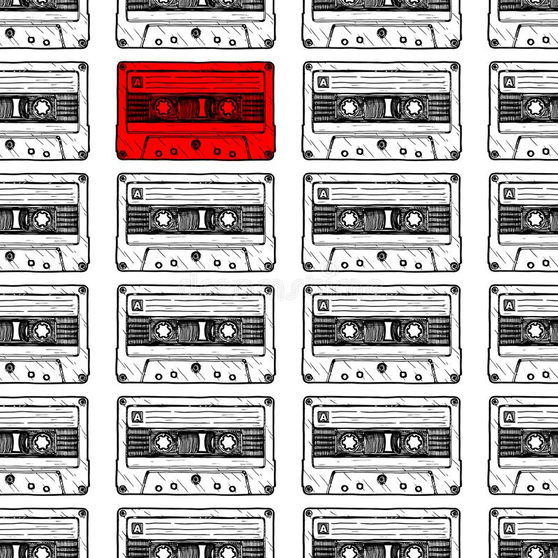 与卡型盒式录音机的样式 库存例证