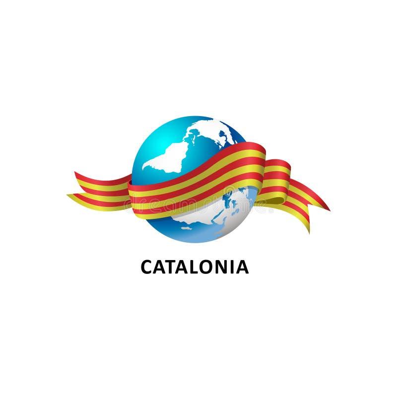 与卡塔龙尼亚旗子的世界 向量例证
