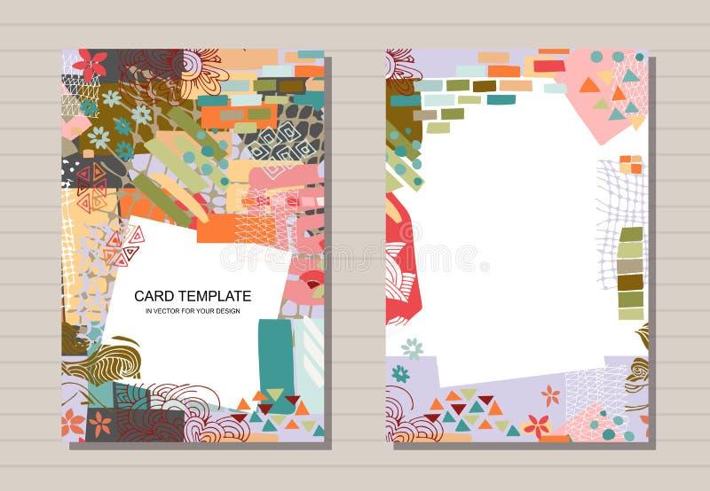与卡片模板的创造性的集合用不同的形状和纹理 r 现代抽象印刷品 向量例证