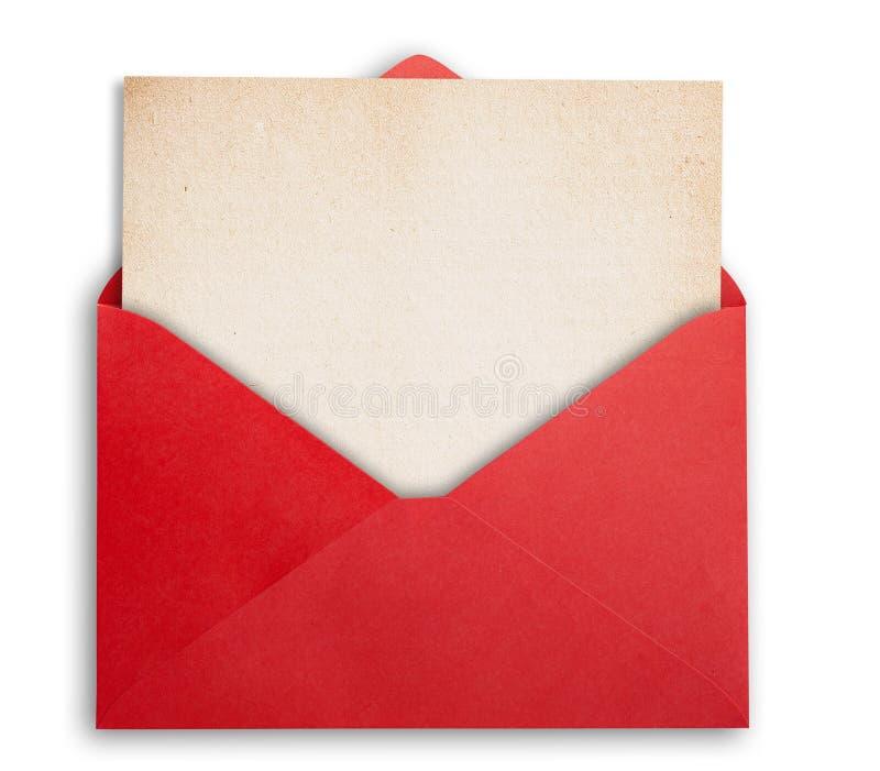 与卡片的红色信封 免版税库存图片